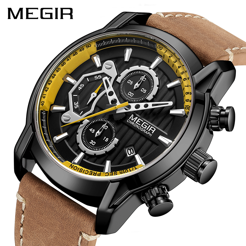 MEGIR New Fashion Mens Watches Waterproof Luminous Sports Wrist Watch Man Leather Chronograph Quartz Wristwatch Reloj Hombre