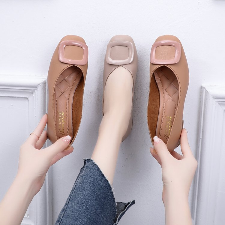2019 New Style Autumn Mary Jane Square Head WOMEN'S Shoes Korean-style Chunky-Heel Low-Cut Square Buckle Summer WOMEN'S Pumps