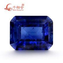 Прямоугольная форма Изумрудный синий цвет Искусственный сапфир
