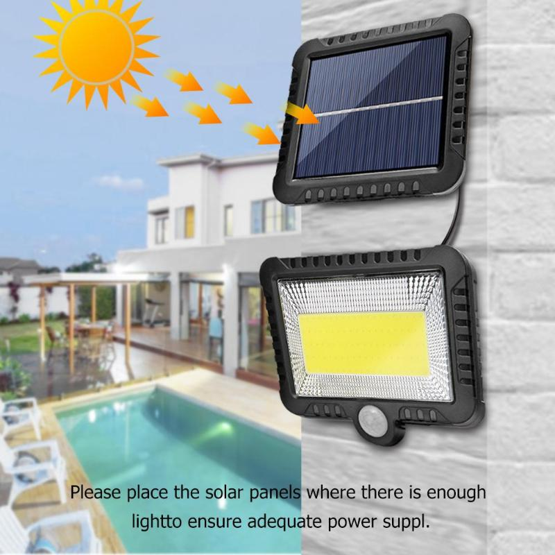 COB 100LED Solar Light Motion Sensor Waterproof Outdoor Path Night Lighting Support Outdoor Lighting Sunlight