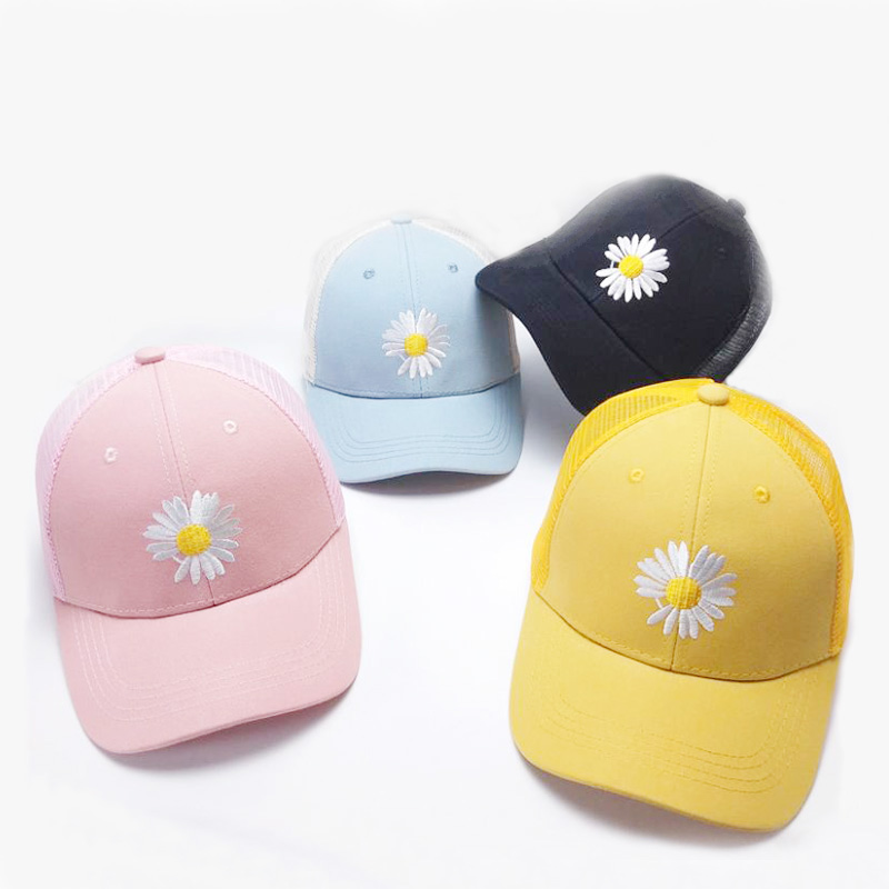 Doitbest Summer Child Baseball Cap 2 To 6 Years Little Daisies Embroidery Hip Hop Kids Hats Boys Girls Caps Snapback Mesh Hat