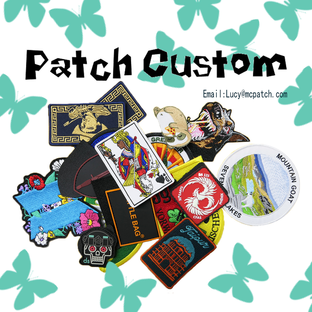Custom Embroidery Patches Hook and Loop Iron on Person Company School Team Logo Design Cheap High Quality Craft Factory Sales