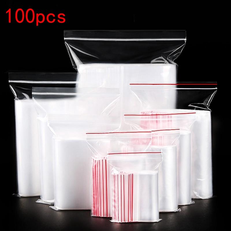 100pcs Transparent Ziplock Bag Reusable Transparent Jewelry / Food Storage Bag Kitchen Bag Transparent Zipper Bag