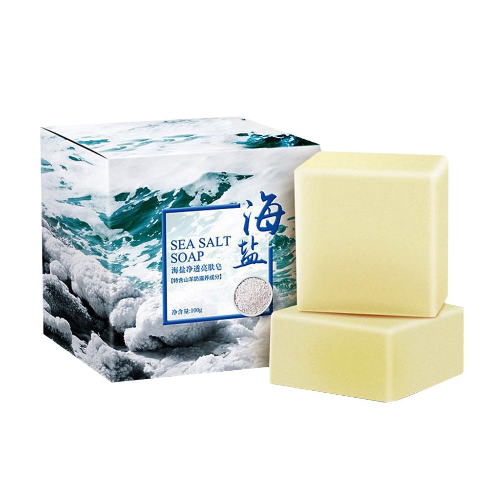 1PCS Sea Salt Soap Oil Control Face Washing Milk Cleansing Oil Soap Suitable For Dry And Natural Oily Skin image
