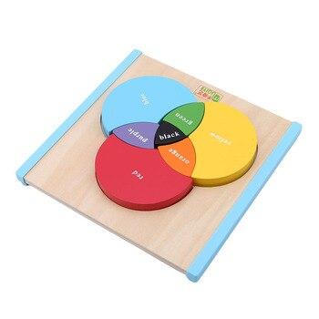 Nueva llegada de madera de tres colores principales tablero de aprendizaje de mezcla de bebé de Color educativo de aprendizaje juguetes Montessori
