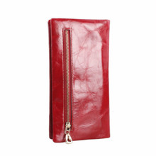 Genuine Leather Womens Wallet Oil Wax Leather Clutch Bag Wom