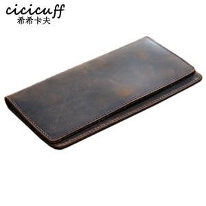 Image 1 - דק פשוט כסף קליפ לגברים מטורף סוס עור אמיתי מחזיקי פנקסי צ קים בציר עור ארוך ארנקים ארנק דק
