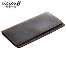 Thin Simple Money Clip for Men Crazy Horse Genuine Leather Holders for Checkbooks Vintage Leather Long Wallets Slim Billfold