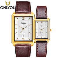 ONLYOU Lover Watches Couple Valentine's Day Gifts Anniversary Gold Quartz Wristwatch Men Top Brand Luxury Clock Women 81089