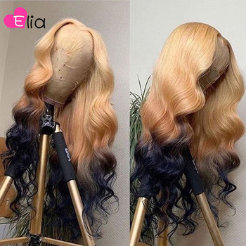 Elia Ombre 613 Brown Blue Colored Lace Frontal Wig 13x6 Wigs HD Virgin Peruvian Human Hair Body Wave Drop Shipping Wholesale image