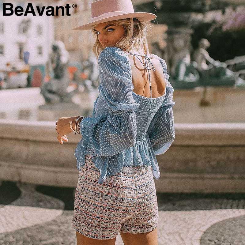 BeAvant مثير الشيفون منقطة كشكش بلوزة النساء عارضة مربع طوق فانوس كم بلوزة الإناث أنيقة الصلبة ضئيلة بلوزة
