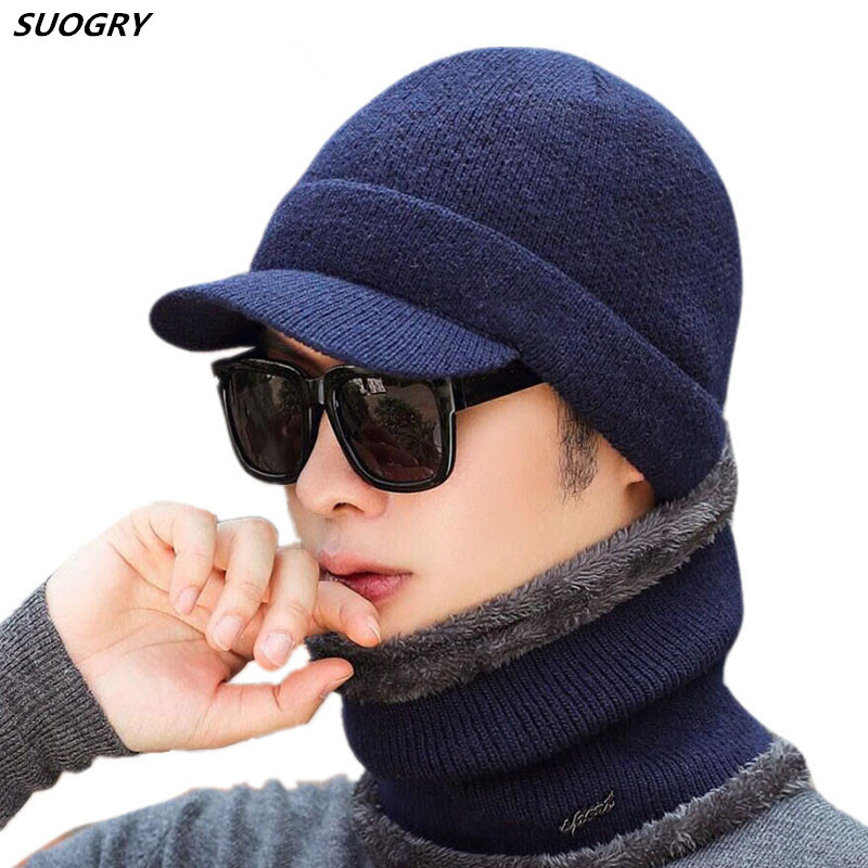 2019 New High Quality Winter Knitted   Beanie   Scarf 2 Pieces Set Thick Lining Plus Velvet Men's Visor Warm Hat Dad Soft Cap Balacl