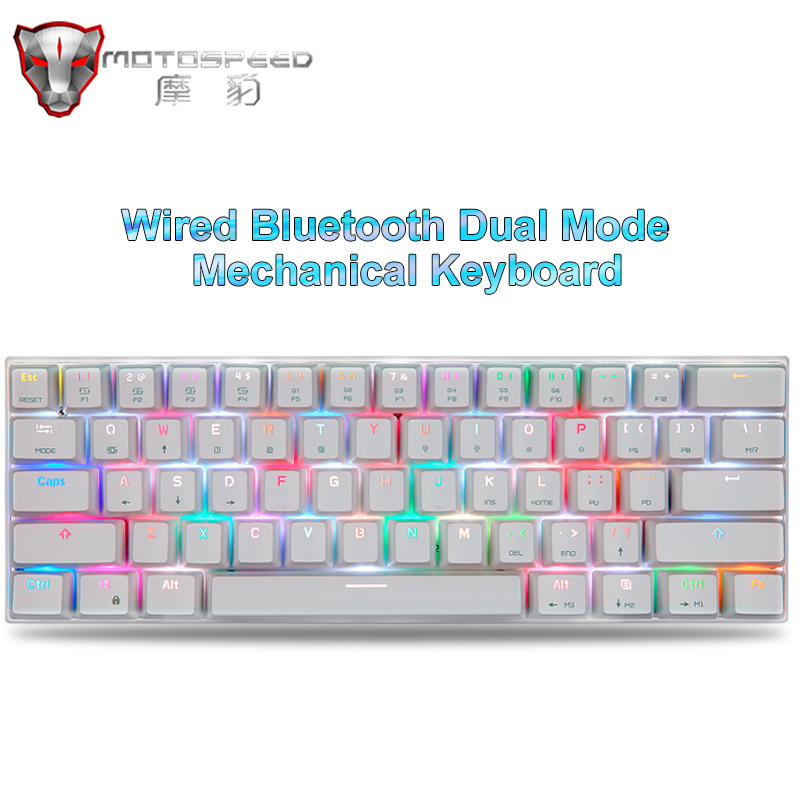 Genuine Motospeed Wired/Bluetooth Dual Mode Gaming Mechanical Keyboard 61 Keys RGB Backlight For PC Computer Android IOS System