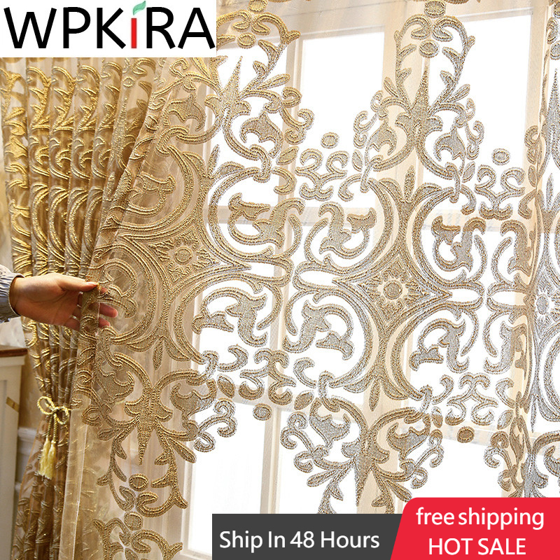 Gold Embroidery Tulle Curtains Romatic Window Screen Living Room Voile kitchen Window Blinds Drape Luxurious European ZH431H