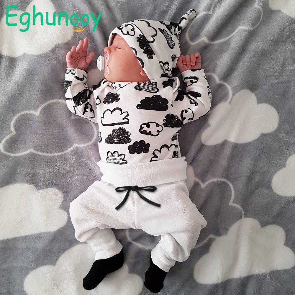 3 Pcs Newborn Baby Boys Clothes Set Cloud Print Cotton Long Sleeve T-Shirt+Casual Solid Color Pant+Hat Infant Clothing Outfits