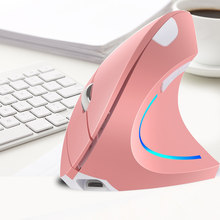 Ergonomic Vertical Mouse Wireless Rechargeable Gaming Computer Mice 2400 DPI USB Optical 5D Pink Mause With RGB Light For Gamer