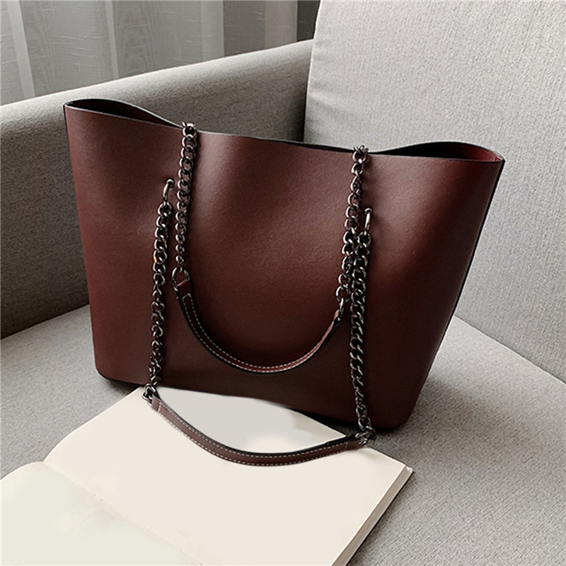 Fashion Women Chain Tote Bag PU Leather Solid Color Shoulder Bags High Capacity Handbags Female Large Travel Bag