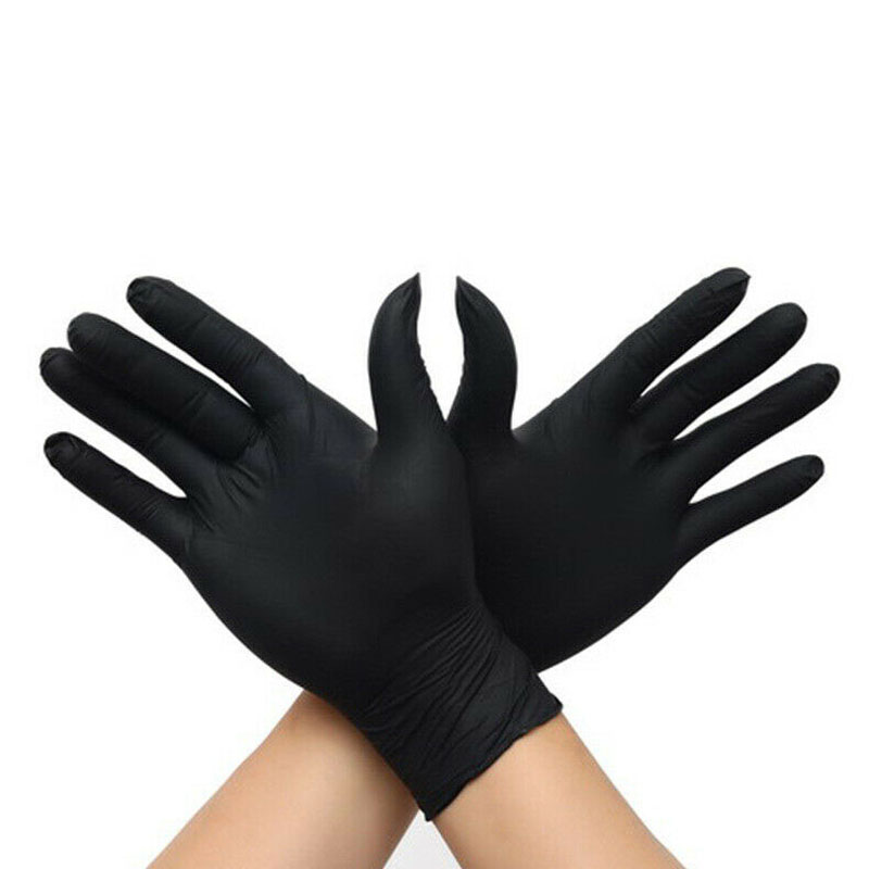50pcs Black Disposable Nitrile Gloves Oil Proof Waterproof Multipurpose Cleaning Washing Gloves - Size S M L XL