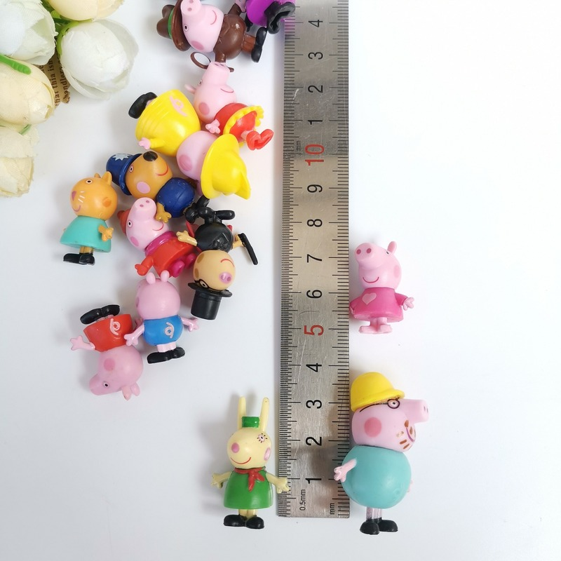 3cm Original Peppa Pig Family Friends Birthday Cake Cartoon Decoration Action Figure Toys PVC Anime Peppa Cake Gift Toy For Kid