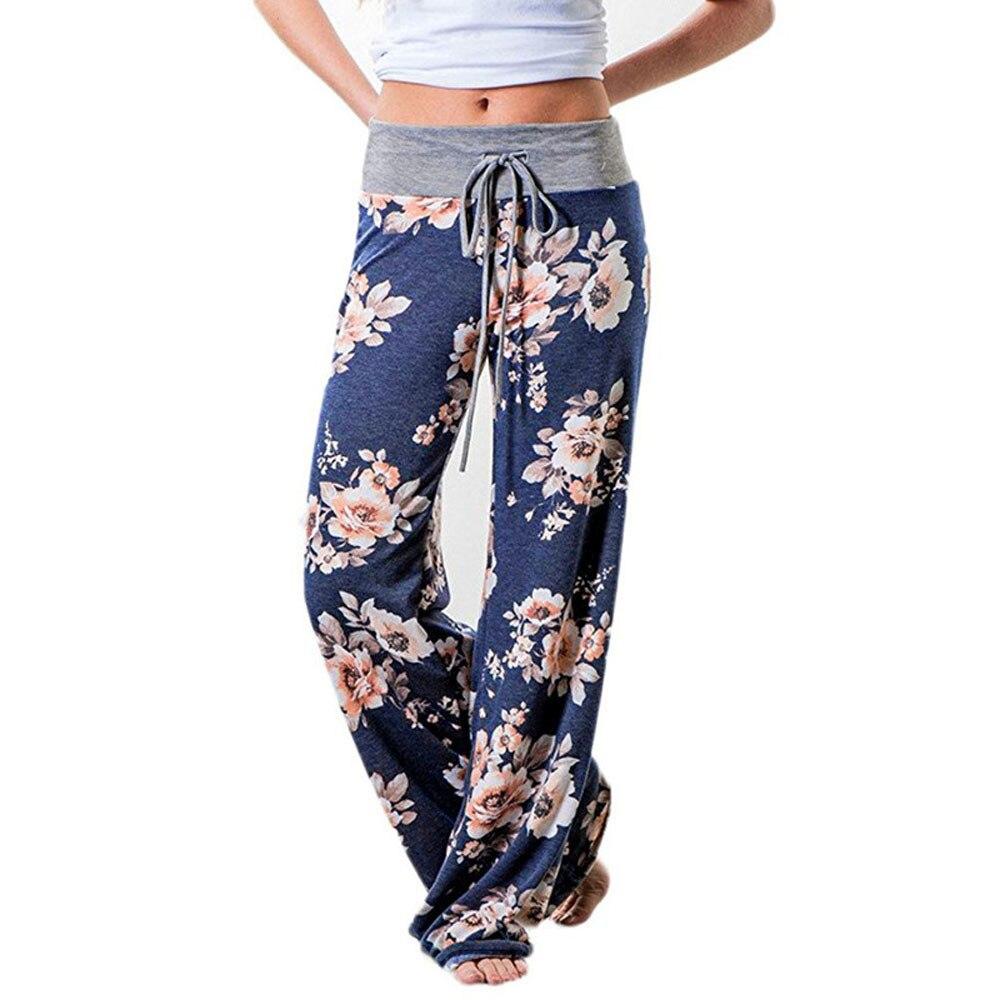 Womens Soft Pants Womens Cotton Comfy Stretch Print Floral Drawstring Palazzo Wide Leg Lounge Pants Women Loose High Waist Pants
