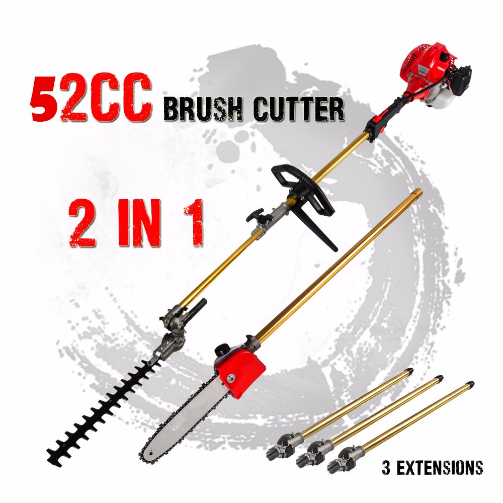 52cc Long Reach Pole Chainsaw Hedge Trimmer Brush Cutter Whipper Snipper Pruner Line Tree with 3 extend pole