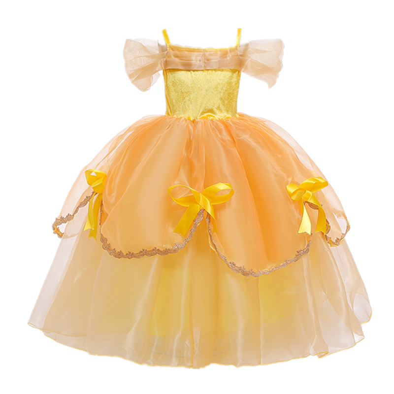 Girls Princess Dresses for 4-10T Children Kids Halloween Cosplay Costume Role-play Clothing Dress 2