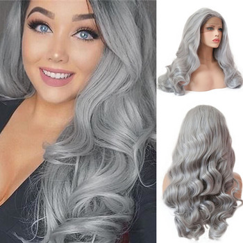RONGDUOYI Long Body Wave Synthetic Lace Front Wig for Women Heat Resistant Fiber Natural Hairline Gray Wigs Middle Part Hair