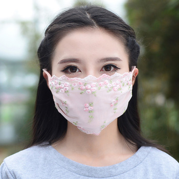 1PCS Ladies Spring Summer Flower Embroidery Lace Dust Mouth Mask Thin Section Dustproof Face Mask