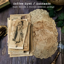 Handmade Coffee Dyed Paper Doilies Material Background Journal Decoration Label Bill Postmark Page Paper DIY Scrapbooking Craft