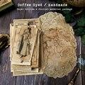 Handmade Coffee Dyed Paper Doilies Material Ephemera Journal Decoration Label Bill Postmark Page Paper DIY Scrapbooking Craft