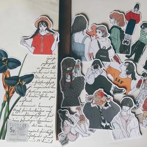 Image 2 - 15pcs/bag kawaii girl stickers DIY scrapbooking hand painted beautiful girl series album journal happy plan decorative stickers