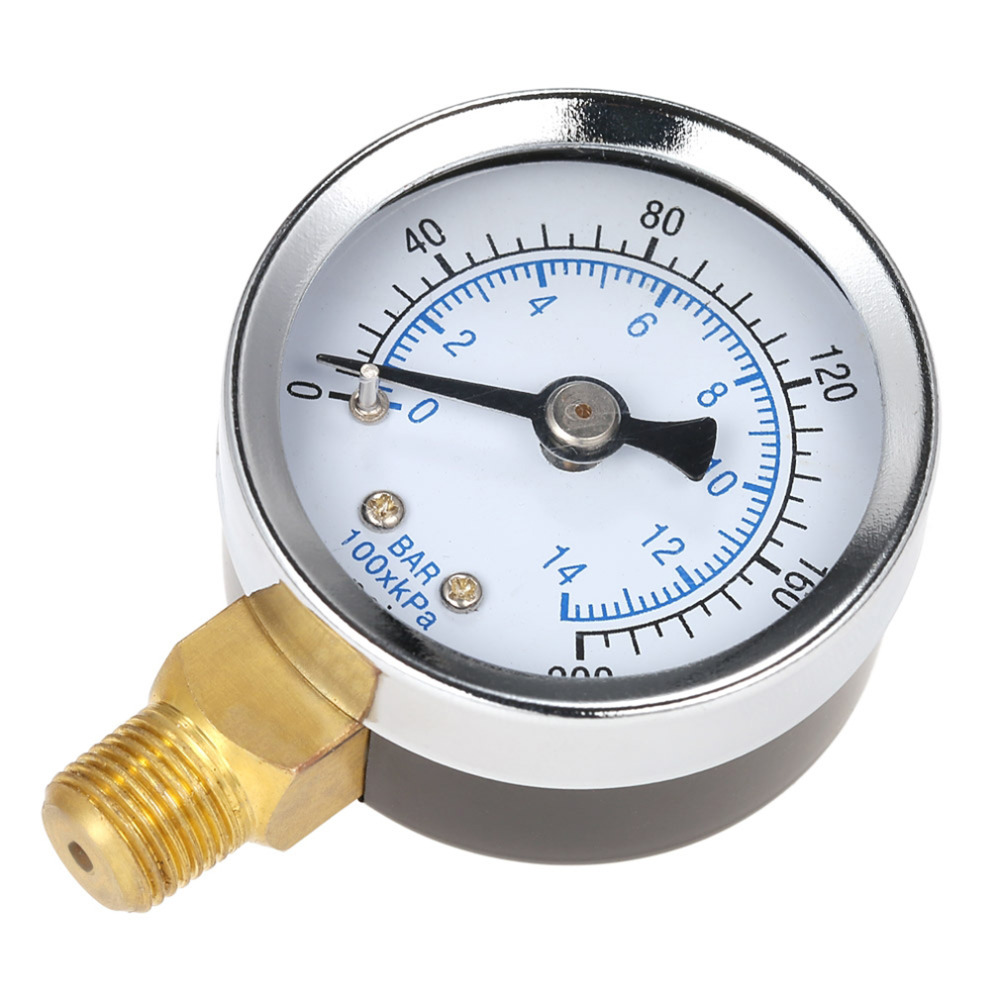 0-200psi 0-14bar Mini Pressure Gauge Dial Air Compressor Meter Hydraulics Pressure Tester Double Scale Measurer Side Mount