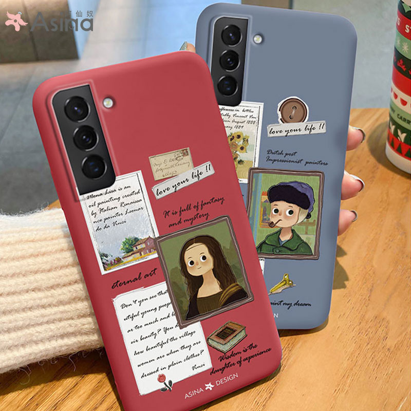 Cute Cat Case For Samsung Galaxy S21 Ultra S20 S10 S9 Plus Soft Liquid For Samsung Note 9 10 20 Mona Lisa