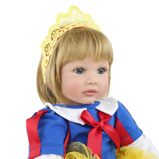 60CM silicone reborn baby girl doll with blonde hair vinyl toddler princess babies realistic high end