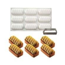 Moldes de Silicone Bolo Mousse 3D Bakeware Molde DIY, Ferramenta de Aço Inoxidável Retangular Crocante, 8 Buracos Tart Forma Torcida