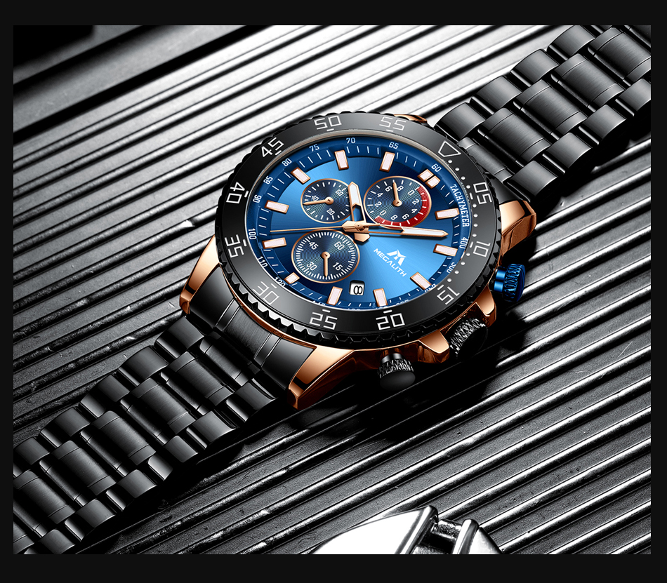 H98eb256fef2145cab9762a9f6019de1ce MEGALITH Watches Mens Waterproof Analogue Clock Fashion Stainless Steel Waterproof Luminous Watch Men Sports Relogio Masculino