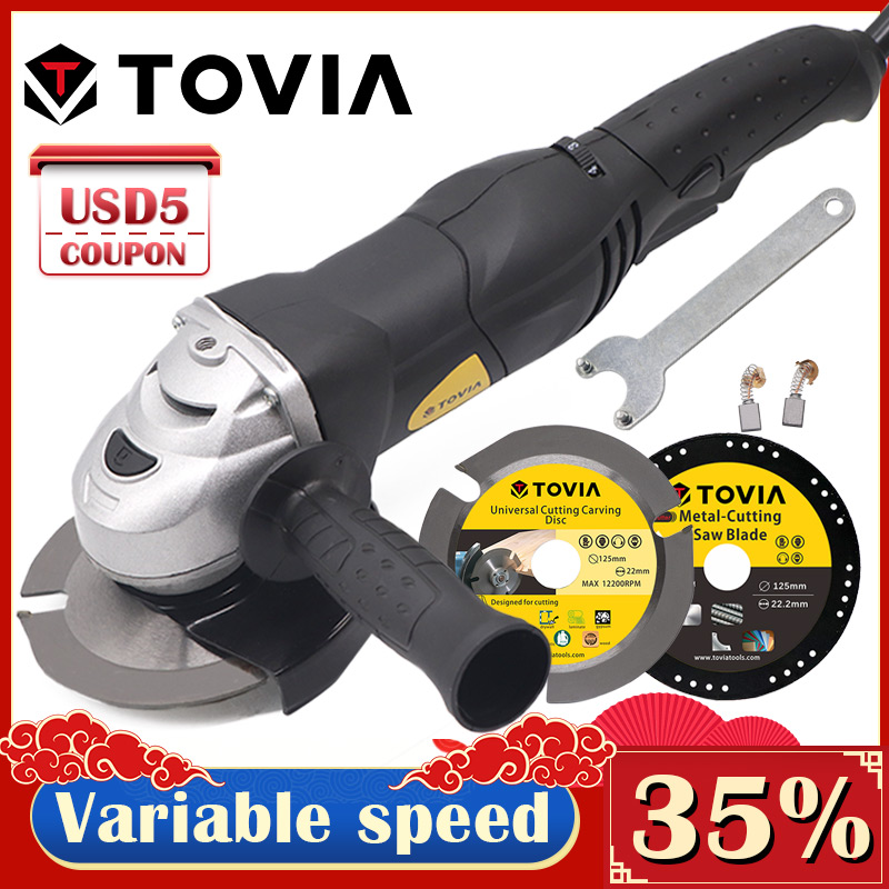 TOVIA 125mm Angle Grinder 950W Grinding Machine Cut Wood Metal Stone M14 Grinder Variable Speed 3000-10500RPM Grinder 220V