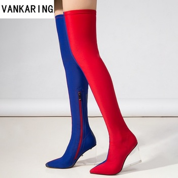autumn winter dress dance wedge boots woman fashion boots skinny stretch classic women's sexy red blue over the knee high boots