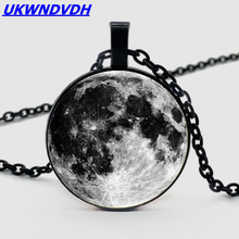 Galaxy Moon Pattern Necklace Crystal Pendant Fashion Men and Women Necklace Jewelry