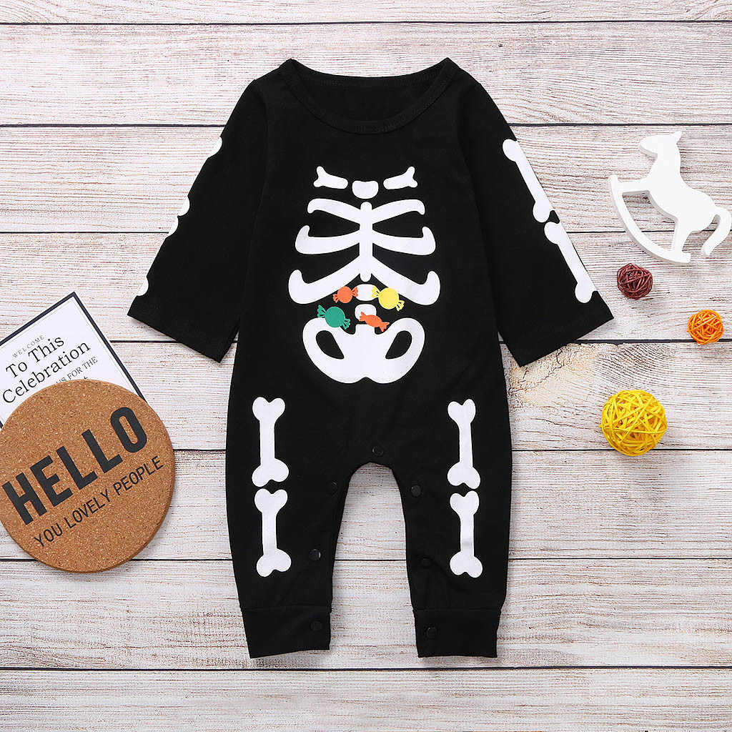 Baby Girls Halloween Rompers Long Sleeve Skeleton Cartoon Jumpsuit Kids Boy Custome Clothes Cotton Candy Skull Rompers Clothing