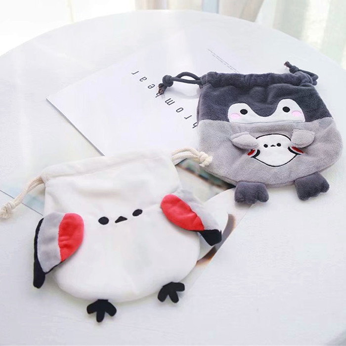 Cute Cartoon Animal Penguin Cosmetic Storage Bag Drawstring Pouch Rope Bundle Pocket Small Soft Plush Purse Makeup Sorting Bags