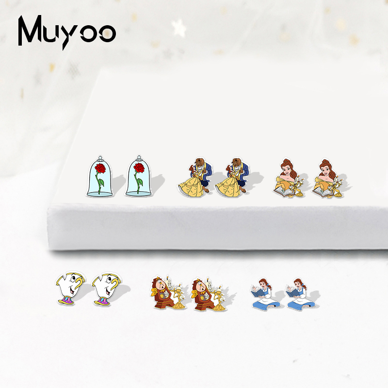 New Fashion Beauty And The Beast Icons Acrylic Epoxy Earrings Lovely Bell Princess Arylic Resin Earrings Gifts For Kids