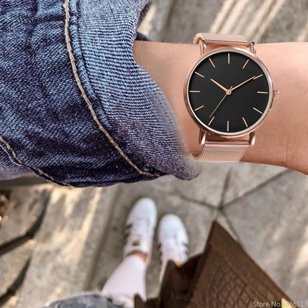 Fashion Women Watches Stainless Steel Mesh Band Quartz Watch Luxury Wristwatch Sport Clock Uhren Herren Gifts For Women Watch