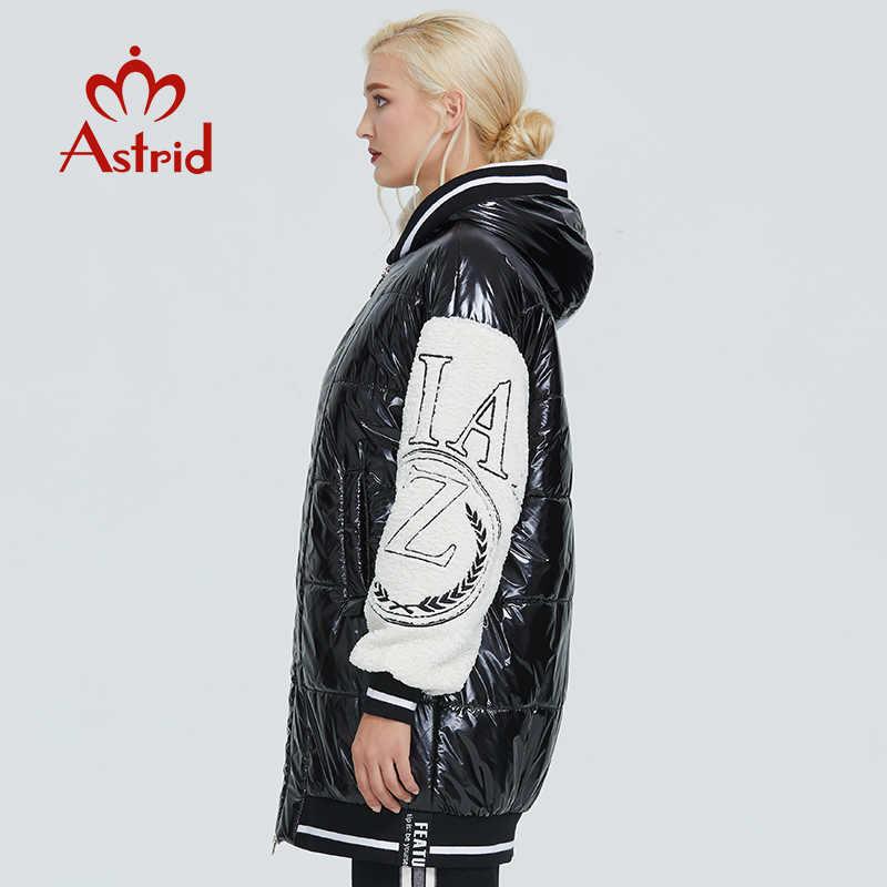 2019 Astrid ฤดูหนาวแจ็คเก็ตผู้หญิงสีดำและสีขาวความคมชัดสีผ้าฝ้ายเสื้อผ้าสบายผู้หญิง Parka ZR-3066