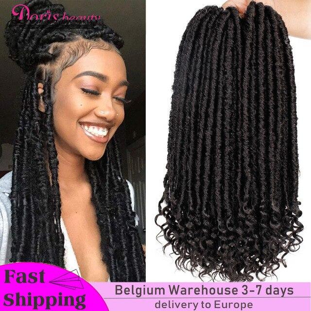 Doris beauty 16&20 inch Goddess Faux Locs Crochet Hair Soft End Natural Synthetic Braids Brown Extension For Women Locks
