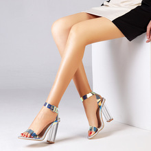 Dazzling Women Sandals Square Heels Shoes Open Toe Sexy Party Ladies High Heels Shoes Clear Transparent Heel Woman Fashion Shoes 2020 summer fashion sandals s shoes high heels 5cm sexy shoes with heel buckle open toe profiled heel women spike heels rubber