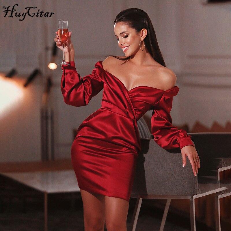 Hugcitar 2020 long sleeve satin slash neck bodycon sexy mini dress spring summer women party elegant outfits streetwear