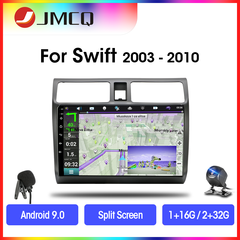 JMCQ <font><b>Android</b></font> 9.0 2G+32G DSP RDS Car Radio Multimidia Video Player For <font><b>Suzuki</b></font> <font><b>Swift</b></font> 2003-2010 2 din Split Screen Stereoes Player image