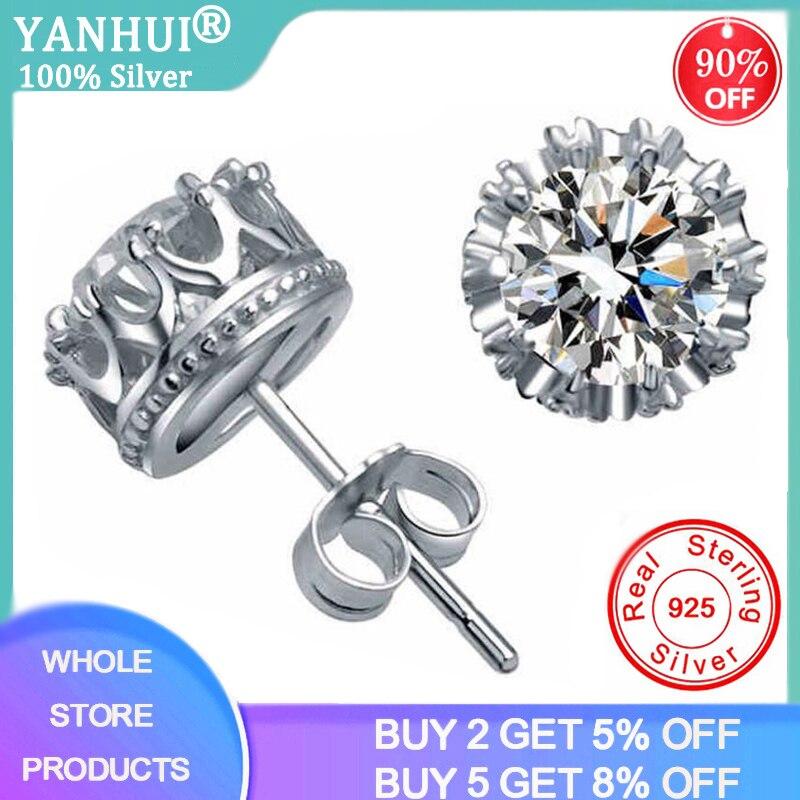 YANHUI With Certificate 2.0ct Lab Diamond Crown Earrings Women 925 Sterling Silver Stud Earrings Fine Jewelry Wholesale E019