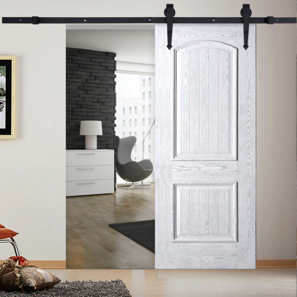 Carbon Steel Sliding Barn Door Hardware Closet Track Kit Wall Mount  Double